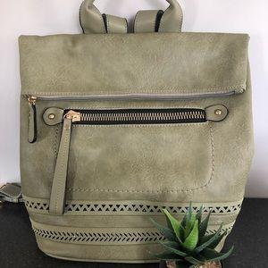 Olivia Fold Over Lux Backpack-Olive